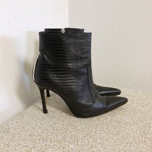 Versace Embossed Black Leather Ankle Boots